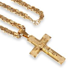 Edelstahl Herren Panzer Kette K77+ Kreuz Jesus Anhänger Massiv 55 Gold Vergoldet