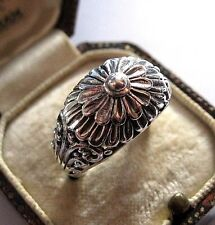 Vintage Jewellery Stunning 925 Solid Sterling Silver Flower Ring Size 7.5 P