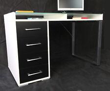 Schreibtisch Arbeitstisch Workstation Office Tisch Glastisch Weiß Schwarz T208