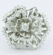 Zirconia Floral Engagement 925 Ss Ring Beautiful Women's Bold White 2.60ct Cubic