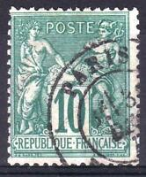 "FRANCE STAMP TIMBRE N° 76 "" SAGE 10c VERT TYPE II 1876 "" OBLITERE TB  M384"
