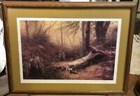 George Clough Hunter with Dog in the Adirondacks numbered print matted framed