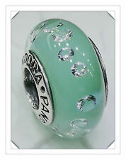 NEW Authentic 925 sterling silver murano bead charm  glass green clear crystal
