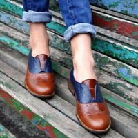 Retro Womens Brogues Wingtip Round Toe Slip On Low Heel Dress Oxfords Shoes