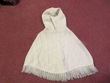 MOTHERCARE off-white cable-stitch HOODED PONCHO with fringe 3-6 yrs. Excellent.