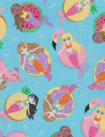 Fabric Mermaid Girls Floating on Floats Cotton Timeless Treasures 1/4 yard 7507