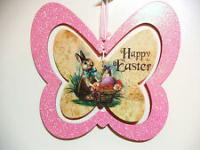 EASTER GLITTERY BUTTERFLY WITH BUNNY & HAPPY EASTER CENTER PIECE HANGER