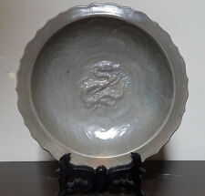 Chinese Antique Celadon Dragon and Flower Relief Large Dish