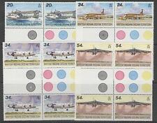 BRITISH INDIAN OCEAN TERR SG124/7 1992 VISITING AIRCRAFT GUTTER BLOCKS OF 4 MNH