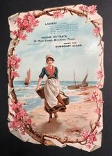 Humbolt Cigar Pretty Lady & Flowers Boats Diecut Advertising Calendar Sign Litho