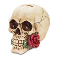 Spardose Totenkopf hat eine Rose im Mund 12cm