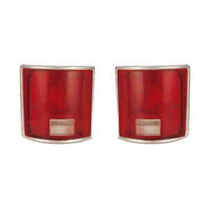 Tail Lights Lens Pair Set for 78-91 Chevy/GMC Blazer/Suburban (w/Chrome)