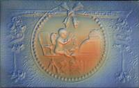 Valentine - Cupid at Office Desk Airbrushed Embossed c1910 Postcard