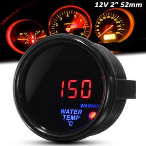 "2"" 52mm Digital LED Auto 20-150℃ Water Temp Temperature Gauge Meter w/ Sensor"