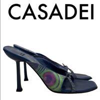 """CASADEI Women's Size 8 B Blue Green Peacock Pattern Sandal Heels 4"""" Heel"""