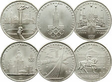 RARE SET 1 RUBLE USSR RUSSIAN COINS 1977 - 1980 * OLYMPIC GAMES IN MOSCOW *A1