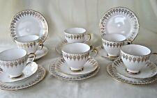 More details for queen anne  ~  bone china  ~  18 piece tea set  ~  6 x trios  ~  gold