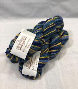 3 Skeins Cascade Baby Alpaca Chunky Paints Yarn 9375 Blue Yellow Green