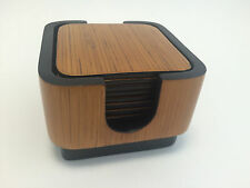 Oggetti Vietnam Bamboo Faux Wood Drink Coasters Set of 8 w/ Holder Brown Black