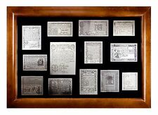 Franklin Mint Etched Sterling Silver 13 American Colonial Monetary Notes w/ CoA