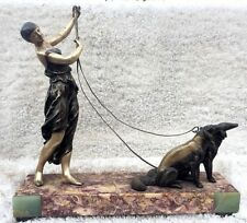 Unique & Rare! Art Deco French Woman Walking Two Dogs