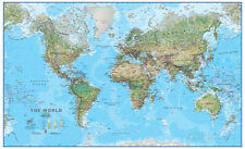 World Physical 1:30 Wall Map, Educational Poster Giant Poster Print, 54x33