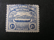 SOLOMON ISLANDS, SCOTT # 3, 2p. VALUE BLUE WAR CANOE ISSUE USED