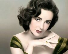 "ELIZABETH TAYLOR ACTRESS HOLLYWOOD MOVIE STAR 8X10"" HAND COLOR TINTED PHOTOGRAPH"