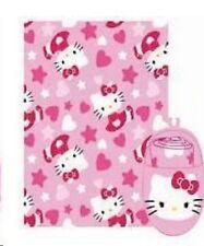 Hello Kitty throw blanket + foot warmer 2 pcs set fleece Sanrio hearts bow ties