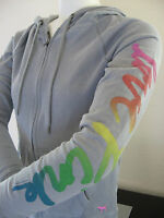 NWT VICTORIA'S SECRET Pink Dog Hoodie Jacket Sweatshirt Cursive Rainbow GRAY XS