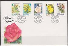 GB - ISLE of MAN 1998  Definitve Flowers - 4p to £1.00 SG 775/855 FDC BUTTERFLY