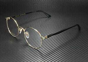 GUCCI GG0297Ok 001 Round Oval Gold Shiny Black Demo Lens 52 mm Unisex Eyeglasses