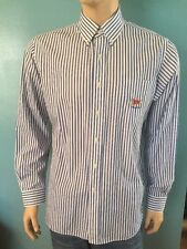 Ralph Lauren Polo Club Flag Logo Long Sleeve Button Front Shirt Blue Stripes Lrg