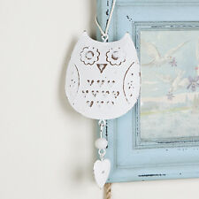Sass & Belle Vintage Hanging White Metal Owl Decoration Shabby Chic Distressed