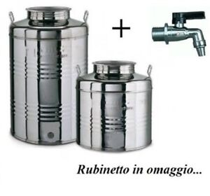 CONTENITORE FUSTO PER OLIO IN ACCIAIO INOX 10 15 20 25 30 50 LITRI MADE IN ITALY