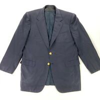 Brioni Men's Traiano 100% Wool 2-Button Blazer Gold Buttons Blue • Italy • 44 R