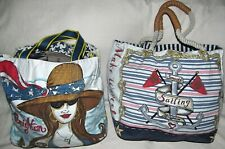 Lot of 2 Brighton Canvas Beach Sailing Extra Large XL Tote Travel Bag Shopper