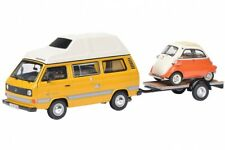 SCHUCO 03303 - 1/43 VW T3 JOKER CAMPINGBUS MIT AUTOANHÄNGER UND BMW ISETTA - NEU