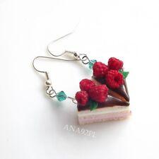 Orecchini a forma di torta dolce in Miniatura Mini Cibo KAWAII gioielli Cioccolato Lampone FIMO