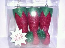 3 Red Elf Shoes Boots Slippers Holiday Christmas Ornaments Glitter