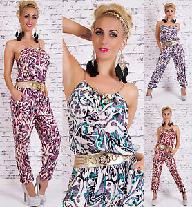 Women's Summer Jumpsuit Cotton Catsuit With Sexy Gold Belt Size 8,10,12 HOT