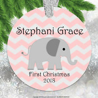 baby first christmas ornament 2018 baby girl pink chevron elephant personalized