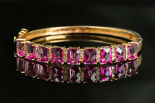 14K Rose Gold Hinged Bangle with Pink Topaz and Diamond