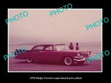 OLD LARGE HISTORIC PHOTO OF 1958 DODGE CORONET COUPE LAUNCH PRESS PHOTO 1