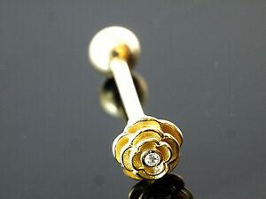 585 Gold Piercing  Blume mit Zirkonia Stift 1,2 mm  10 mm Länge  4 mm Kugel