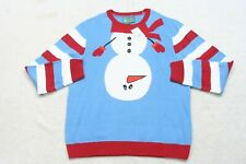 New XXL Ugly Christmas Sweater Blue White Red Cotton Acrylic Man's Long Sleeve