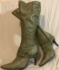 Faith Green Knee High Leather Lovely Boots Size 5 (851Q)