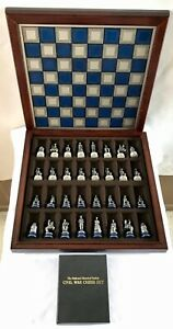 Vintage Franklin Mint American Civil War Chess Set Blues and Grays No Reserve!