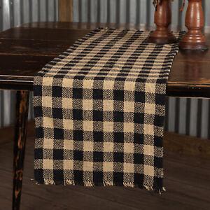VHC Brands Burlap Primitive Black Tan Check Tabletop Runner Fringed Cotton 13x36