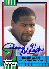 JOHNNY MEADS SIGNED 1990 TOPPS OILERS CARD AUTO ~AUTHENTIC